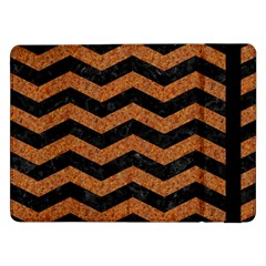 Chevron3 Black Marble & Rusted Metal Samsung Galaxy Tab Pro 12 2  Flip Case by trendistuff
