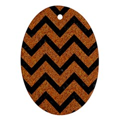 Chevron9 Black Marble & Rusted Metal Ornament (oval) by trendistuff