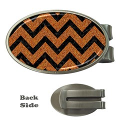 Chevron9 Black Marble & Rusted Metal Money Clips (oval)  by trendistuff
