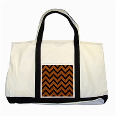 Chevron9 Black Marble & Rusted Metal Two Tone Tote Bag by trendistuff