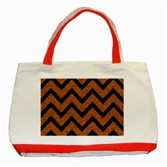 Chevron9 Black Marble & Rusted Metal Classic Tote Bag (red) by trendistuff
