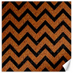 Chevron9 Black Marble & Rusted Metal Canvas 20  X 20   by trendistuff