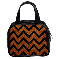 Chevron9 Black Marble & Rusted Metal Classic Handbags (2 Sides) by trendistuff
