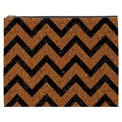Chevron9 Black Marble & Rusted Metal Cosmetic Bag (xxxl)  by trendistuff