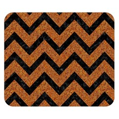 Chevron9 Black Marble & Rusted Metal Double Sided Flano Blanket (small)  by trendistuff
