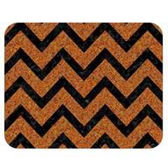 Chevron9 Black Marble & Rusted Metal Double Sided Flano Blanket (medium)  by trendistuff