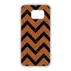 Chevron9 Black Marble & Rusted Metal Samsung Galaxy S7 Edge White Seamless Case by trendistuff