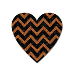 Chevron9 Black Marble & Rusted Metal (r) Heart Magnet by trendistuff
