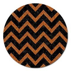 Chevron9 Black Marble & Rusted Metal (r) Magnet 5  (round) by trendistuff