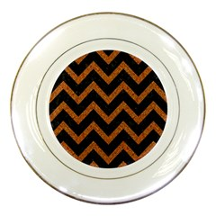 Chevron9 Black Marble & Rusted Metal (r) Porcelain Plates by trendistuff