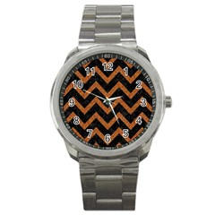 Chevron9 Black Marble & Rusted Metal (r) Sport Metal Watch by trendistuff