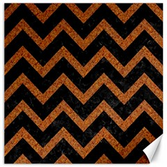 Chevron9 Black Marble & Rusted Metal (r) Canvas 16  X 16   by trendistuff