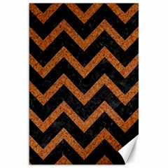 Chevron9 Black Marble & Rusted Metal (r) Canvas 20  X 30   by trendistuff