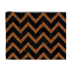 Chevron9 Black Marble & Rusted Metal (r) Cosmetic Bag (xl) by trendistuff