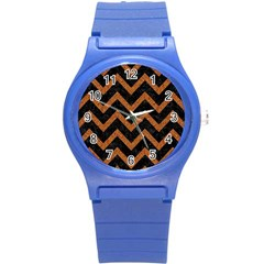 Chevron9 Black Marble & Rusted Metal (r) Round Plastic Sport Watch (s) by trendistuff