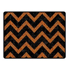 Chevron9 Black Marble & Rusted Metal (r) Double Sided Fleece Blanket (small)  by trendistuff