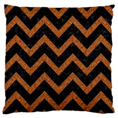 Chevron9 Black Marble & Rusted Metal (r) Large Flano Cushion Case (two Sides) by trendistuff