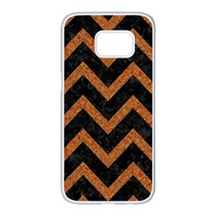 Chevron9 Black Marble & Rusted Metal (r) Samsung Galaxy S7 Edge White Seamless Case by trendistuff