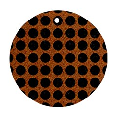 Circles1 Black Marble & Rusted Metal Ornament (round) by trendistuff