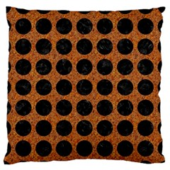 Circles1 Black Marble & Rusted Metal Large Flano Cushion Case (two Sides) by trendistuff