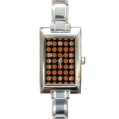 CIRCLES1 BLACK MARBLE & RUSTED METAL (R) Rectangle Italian Charm Watch