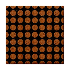 CIRCLES1 BLACK MARBLE & RUSTED METAL (R) Tile Coasters
