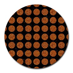 CIRCLES1 BLACK MARBLE & RUSTED METAL (R) Round Mousepads