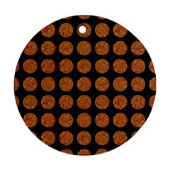 CIRCLES1 BLACK MARBLE & RUSTED METAL (R) Ornament (Round)