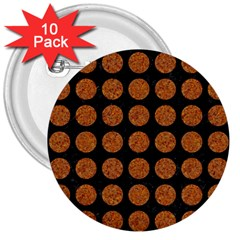 CIRCLES1 BLACK MARBLE & RUSTED METAL (R) 3  Buttons (10 pack)