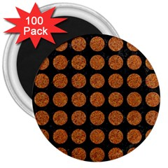 CIRCLES1 BLACK MARBLE & RUSTED METAL (R) 3  Magnets (100 pack)