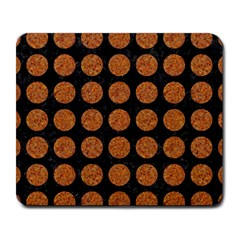 CIRCLES1 BLACK MARBLE & RUSTED METAL (R) Large Mousepads