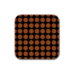 CIRCLES1 BLACK MARBLE & RUSTED METAL (R) Rubber Square Coaster (4 pack)