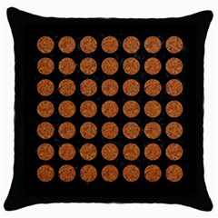 CIRCLES1 BLACK MARBLE & RUSTED METAL (R) Throw Pillow Case (Black)