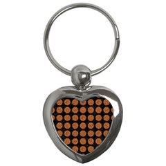 CIRCLES1 BLACK MARBLE & RUSTED METAL (R) Key Chains (Heart)
