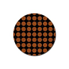 CIRCLES1 BLACK MARBLE & RUSTED METAL (R) Rubber Round Coaster (4 pack)