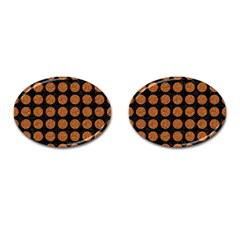 CIRCLES1 BLACK MARBLE & RUSTED METAL (R) Cufflinks (Oval)