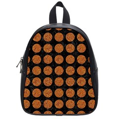 CIRCLES1 BLACK MARBLE & RUSTED METAL (R) School Bag (Small)