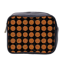 Circles1 Black Marble & Rusted Metal (r) Mini Toiletries Bag 2 Side