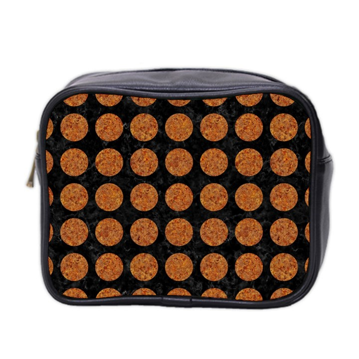 CIRCLES1 BLACK MARBLE & RUSTED METAL (R) Mini Toiletries Bag 2-Side