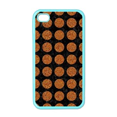 CIRCLES1 BLACK MARBLE & RUSTED METAL (R) Apple iPhone 4 Case (Color)