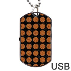 CIRCLES1 BLACK MARBLE & RUSTED METAL (R) Dog Tag USB Flash (One Side)