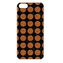 CIRCLES1 BLACK MARBLE & RUSTED METAL (R) Apple iPhone 5 Seamless Case (White)