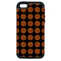 CIRCLES1 BLACK MARBLE & RUSTED METAL (R) Apple iPhone 5 Hardshell Case (PC+Silicone)