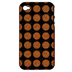 CIRCLES1 BLACK MARBLE & RUSTED METAL (R) Apple iPhone 4/4S Hardshell Case (PC+Silicone)