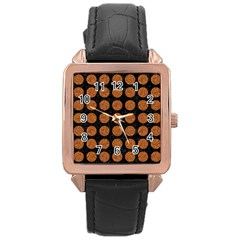 CIRCLES1 BLACK MARBLE & RUSTED METAL (R) Rose Gold Leather Watch