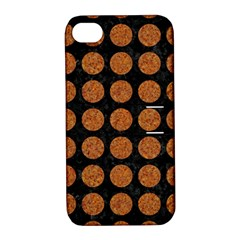 CIRCLES1 BLACK MARBLE & RUSTED METAL (R) Apple iPhone 4/4S Hardshell Case with Stand