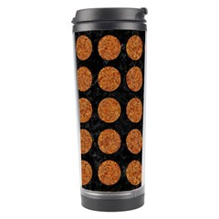 Circles1 Black Marble & Rusted Metal (r) Travel Tumbler by trendistuff
