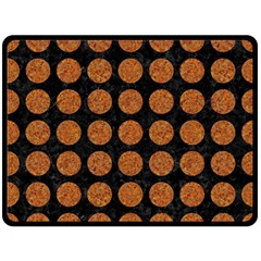 CIRCLES1 BLACK MARBLE & RUSTED METAL (R) Double Sided Fleece Blanket (Large)