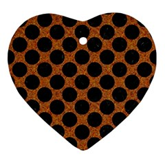 Circles2 Black Marble & Rusted Metal Ornament (heart) by trendistuff