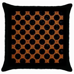 Circles2 Black Marble & Rusted Metal Throw Pillow Case (black) by trendistuff